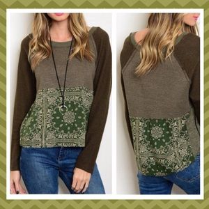 🎊HP🎊🍃Olive Mixed media Top🍃